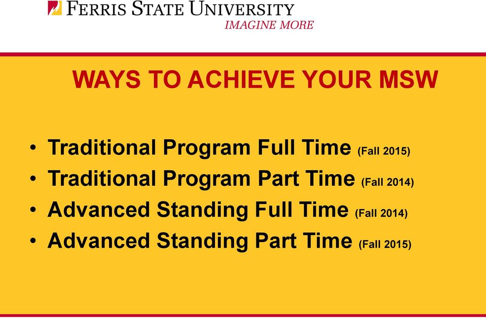 Time (Fall 2014) Advanced Standing Full Time