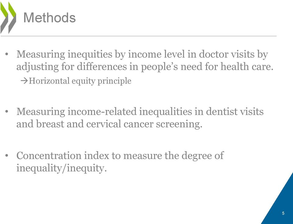 Horizontal equity principle Measuring income-related inequalities in dentist