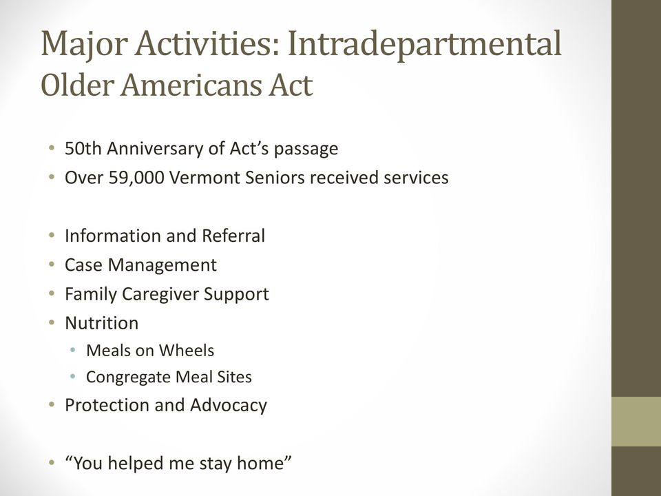 and Referral Case Management Family Caregiver Support Nutrition Meals on