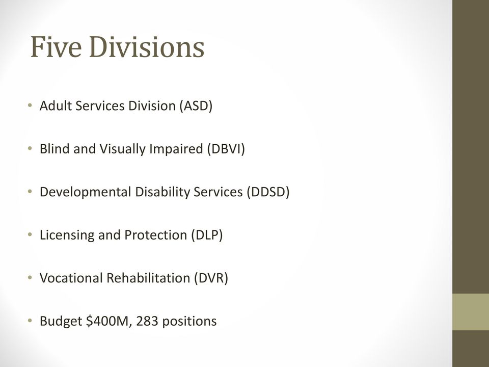 Disability Services (DDSD) Licensing and Protection
