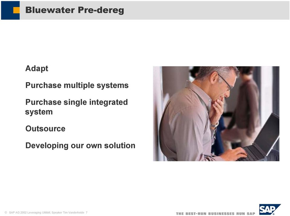 Outsource Developing our own solution SAP AG