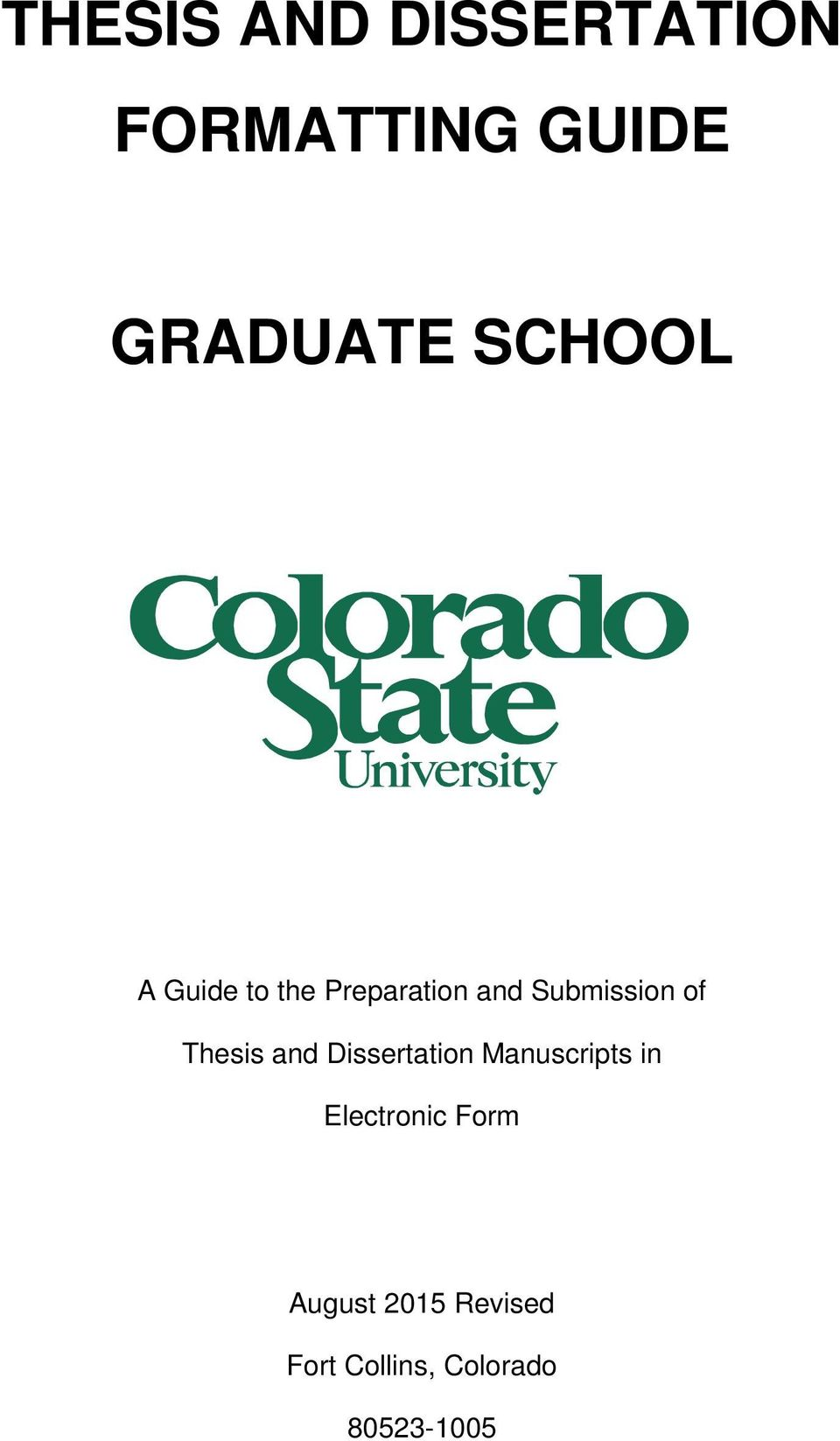Thesis and Dissertation Manuscripts in Electronic