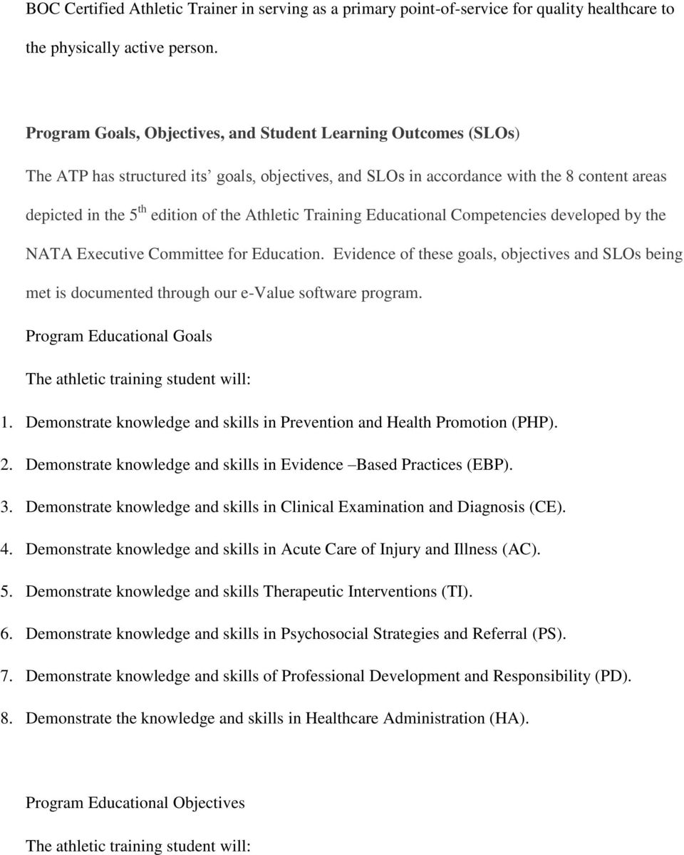 Athletic Training Educational Competencies developed by the NATA Executive Committee for Education.
