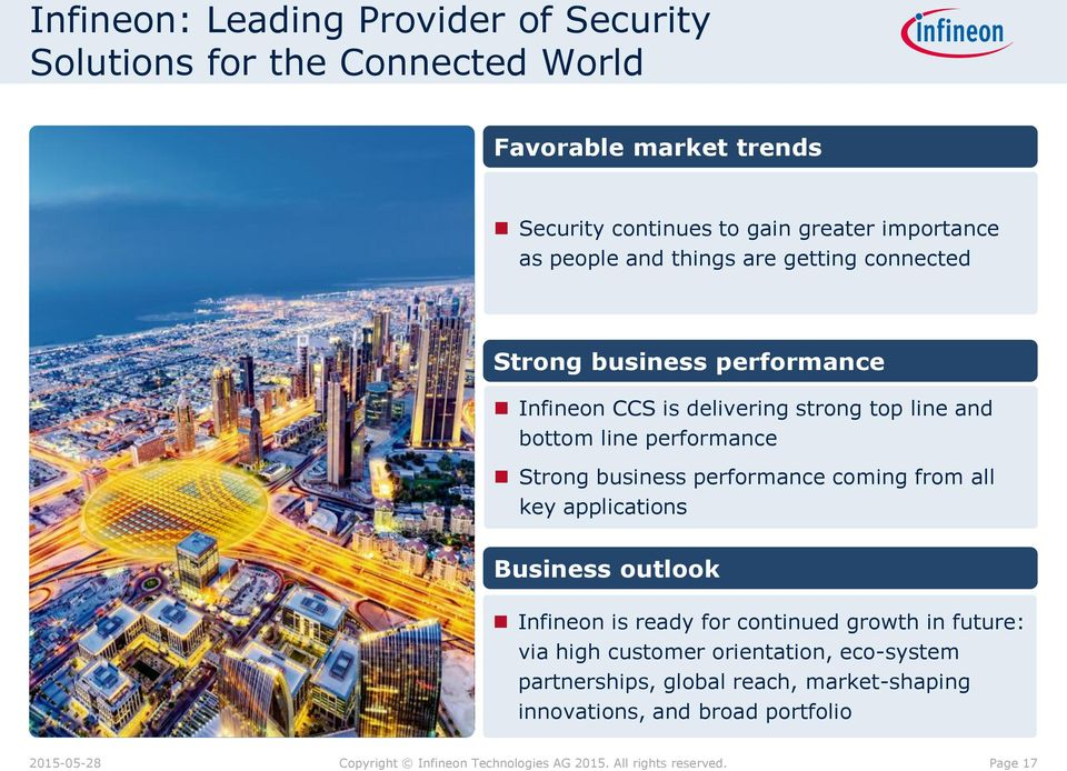 bottom line performance Strong business performance coming from all key applications Business outlook Infineon is ready for continued