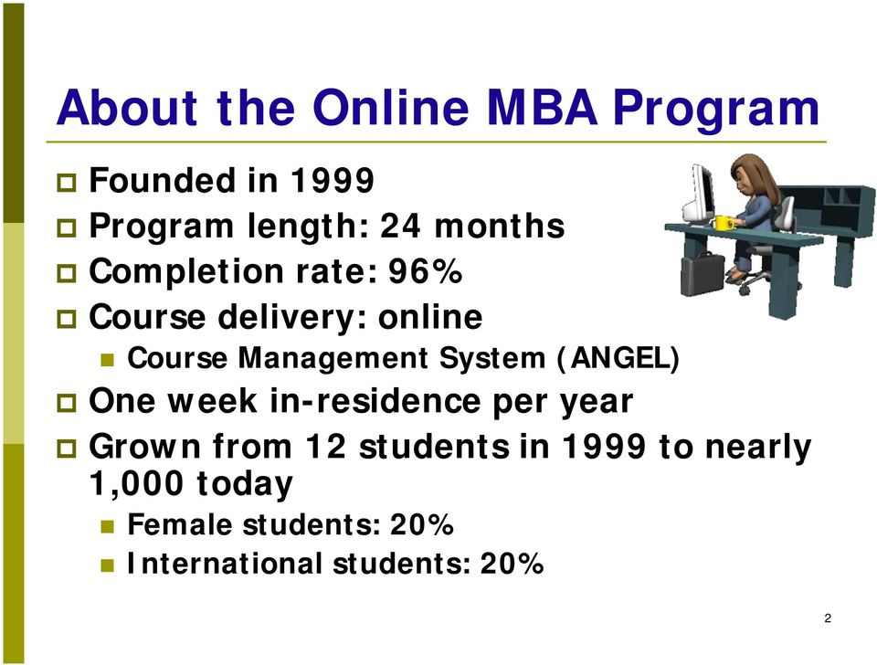 (ANGEL) One week in-residence per year Grown from 12 students in 1999