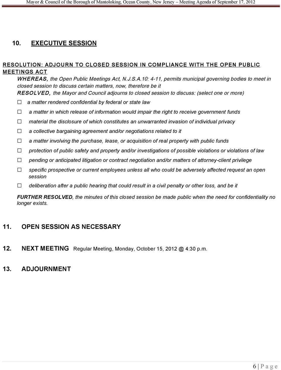 CE WITH THE OPEN PUBLIC MEETINGS AC