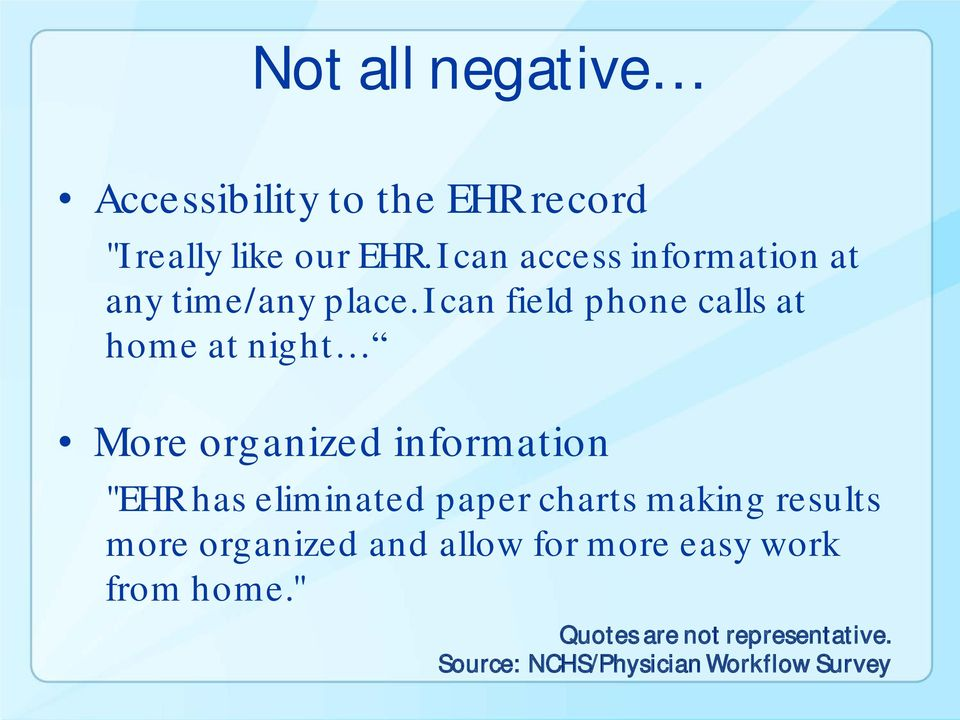 "I can field phone calls at home at night More organized information ""EHR has eliminated"