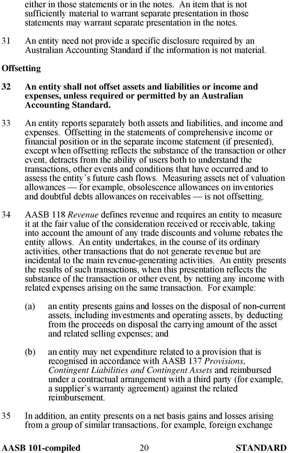 Offsetting 32 An entity shall not offset assets and liabilities or income and expenses, unless required or permitted by an Australian Accounting Standard.