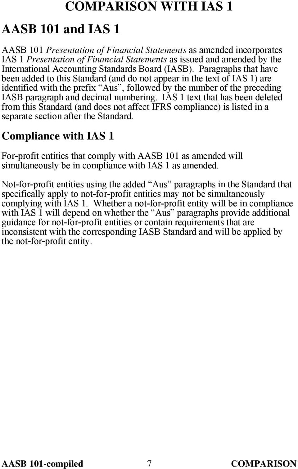 Paragraphs that have been added to this Standard (and do not appear in the text of IAS 1) are identified with the prefix Aus, followed by the number of the preceding IASB paragraph and decimal