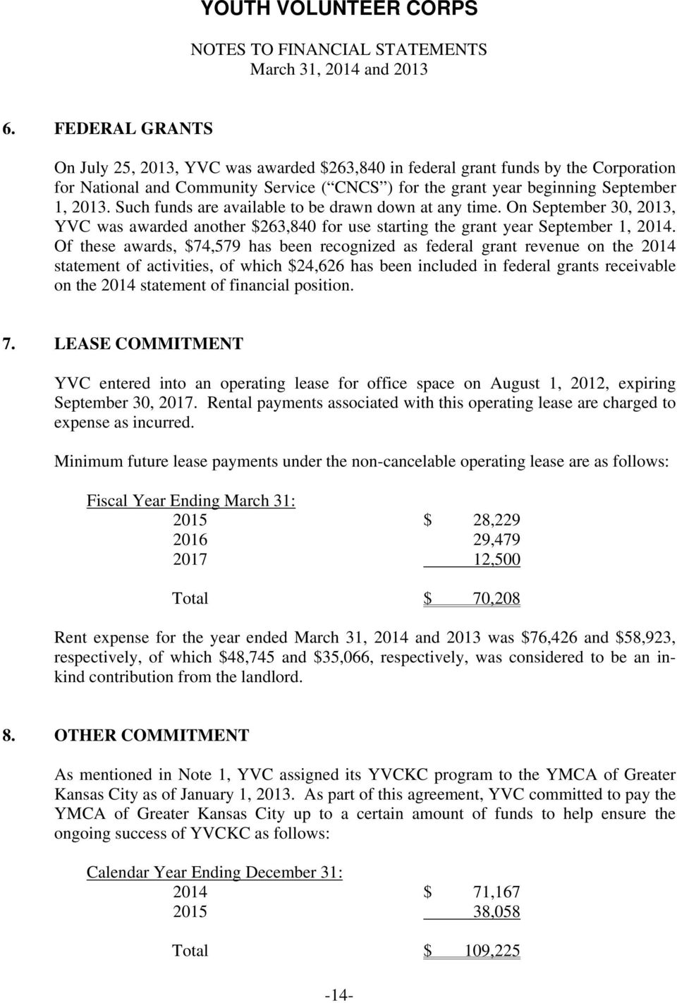 Such funds are available to be drawn down at any time. On September 30, 2013, YVC was awarded another $263,840 for use starting the grant year September 1, 2014.