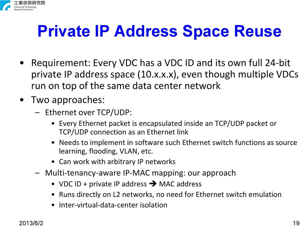 TCP/UDP packet or TCP/UDP connection as an Ethernet link Needs to implement in software such Ethernet switch functions as source learning, flooding, VLAN, etc.