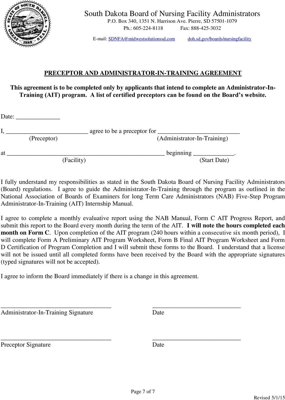 gov/boards/nursingfacility PRECEPTOR AND ADMINISTRATOR-IN-TRAINING AGREEMENT This agreement is to be completed only by applicants that intend to complete an Administrator-In- Training (AIT) program.