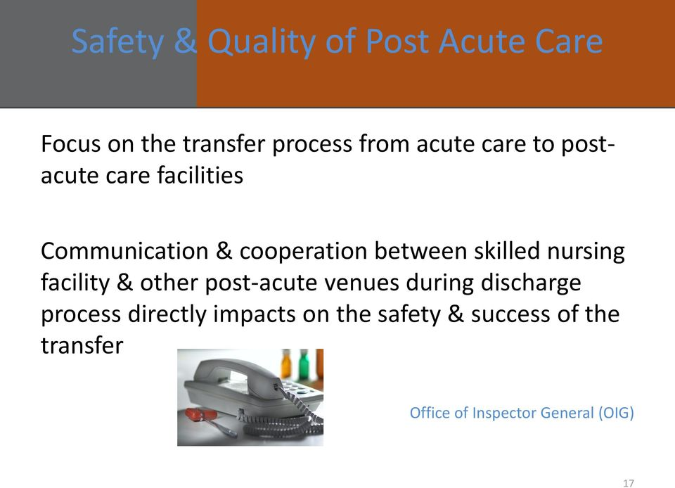 nursing facility & other post-acute venues during discharge process directly