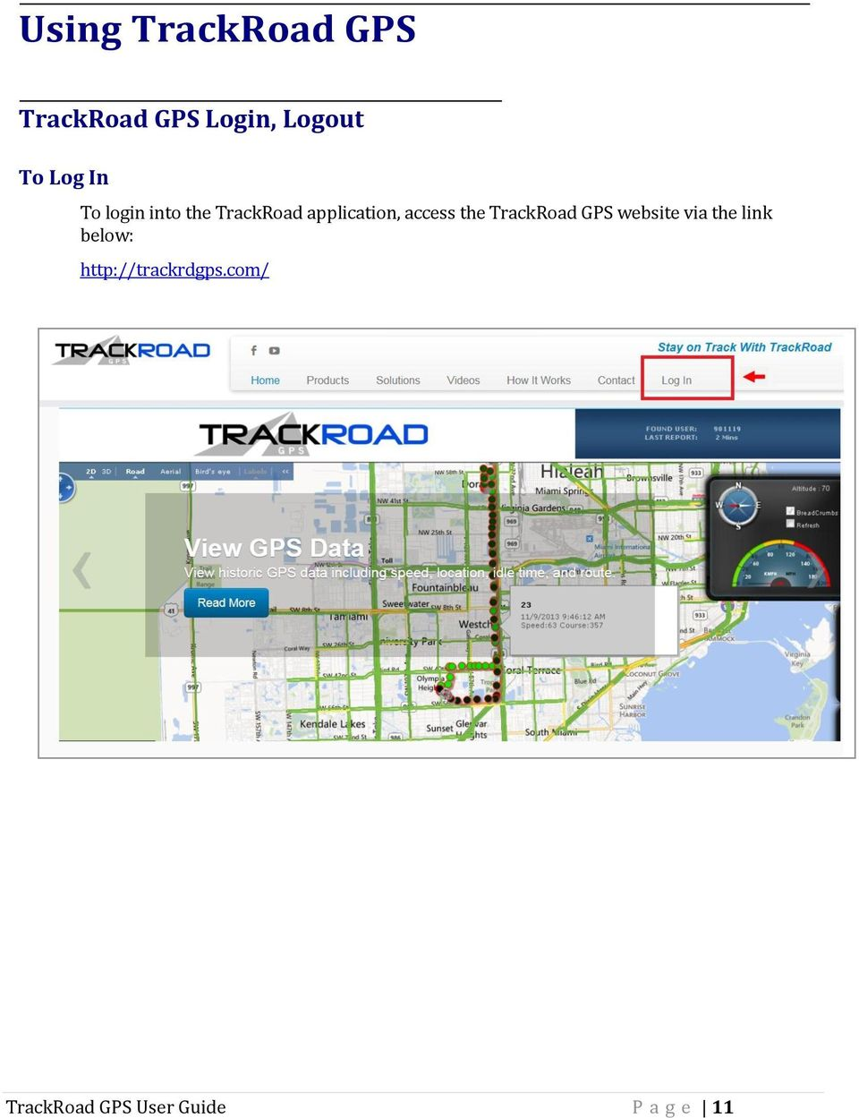 access the TrackRoad GPS website via the link below: