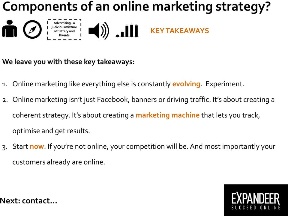 Online marketing isn t just Facebook, banners or driving traffic. It s about creating a coherent strategy.