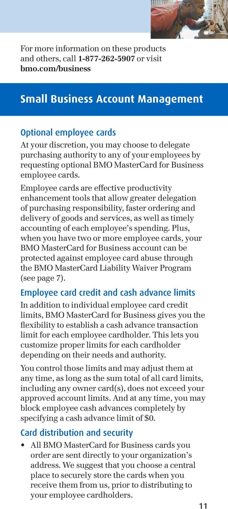 MasterCard for Business employee cards.