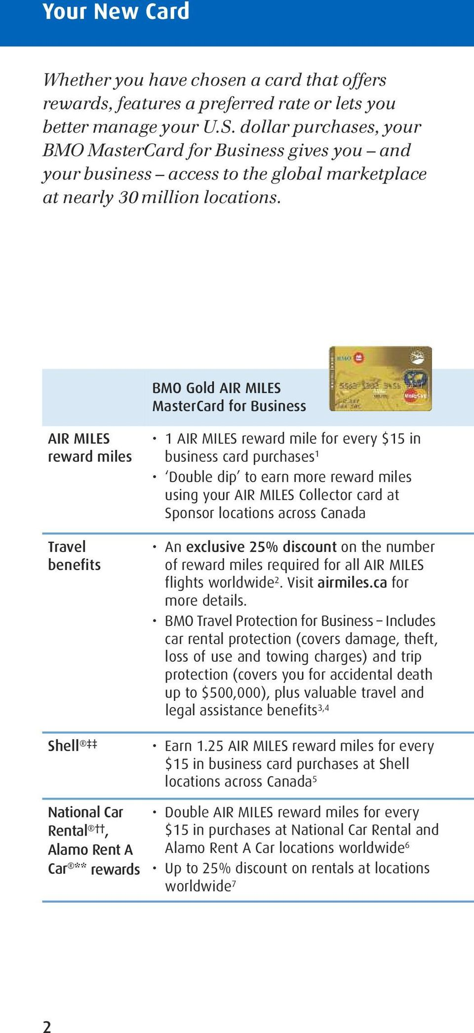 BMO Gold AIR MILES MasterCard for Business AIR MILES reward miles Travel benefits Shell 1 AIR MILES reward mile for every $15 in business card purchases 1 Double dip to earn more reward miles using