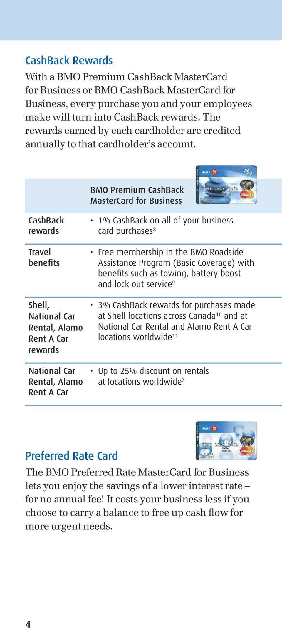 BMO Premium CashBack MasterCard for Business CashBack rewards Travel benefits Shell, National Car Rental, Alamo Rent A Car rewards National Car Rental, Alamo Rent A Car 1% CashBack on all of your