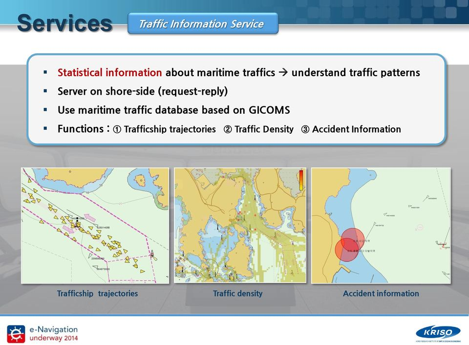 traffic database based on GICOMS Functions : 1 Trafficship trajectories 2 Traffic