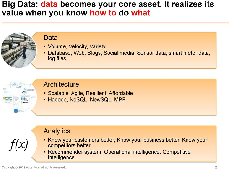 Sensor data, smart meter data, log files Architecture Scalable, Agile, Resilient, Affordable Hadoop, NoSQL, NewSQL, MPP