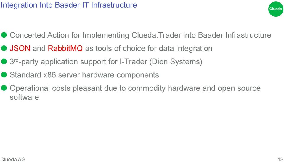 integration 3 rd -party application support for I-Trader (Dion Systems) Standard x86