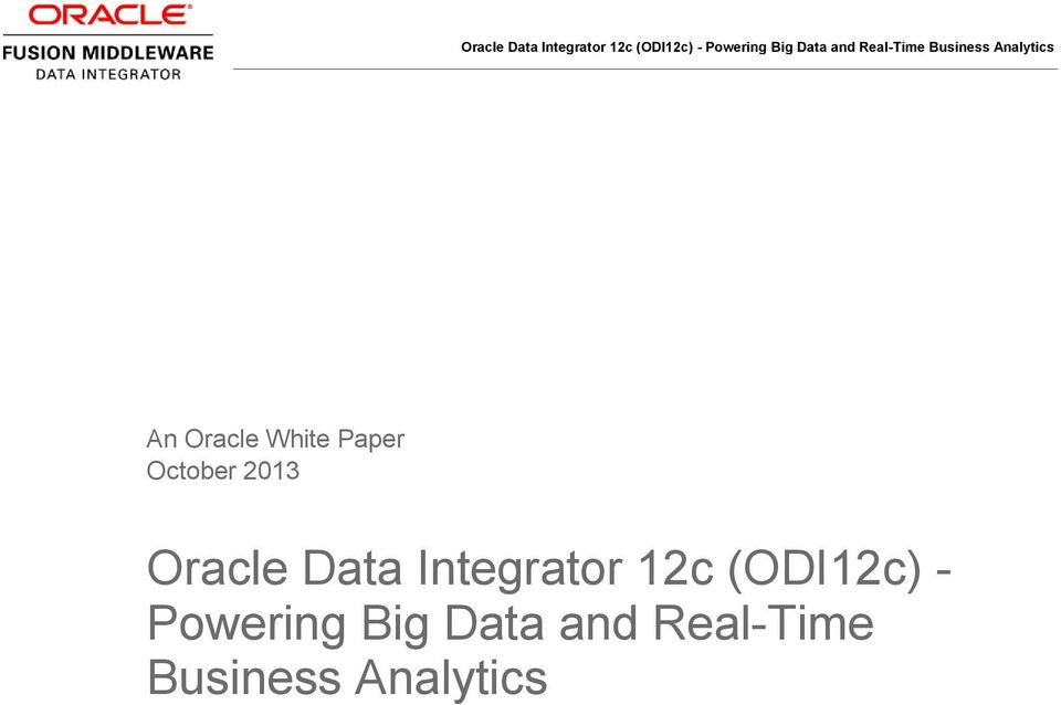 12c (ODI12c) - Powering Big
