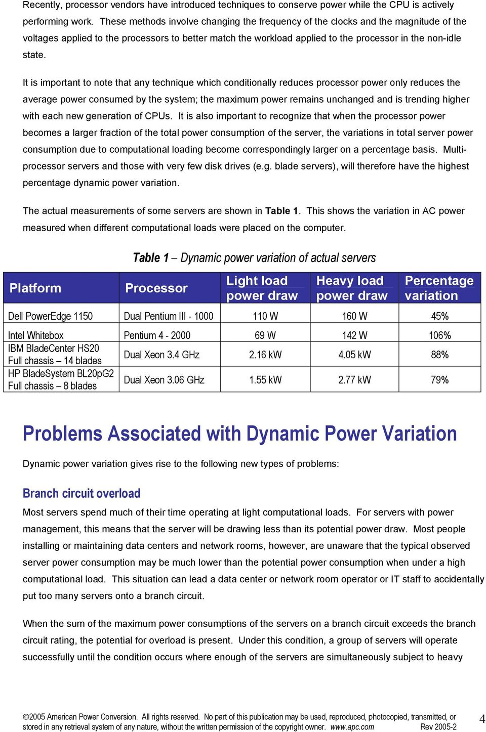 It is important to note that any technique which conditionally reduces processor power only reduces the average power consumed by the system; the maximum power remains unchanged and is trending