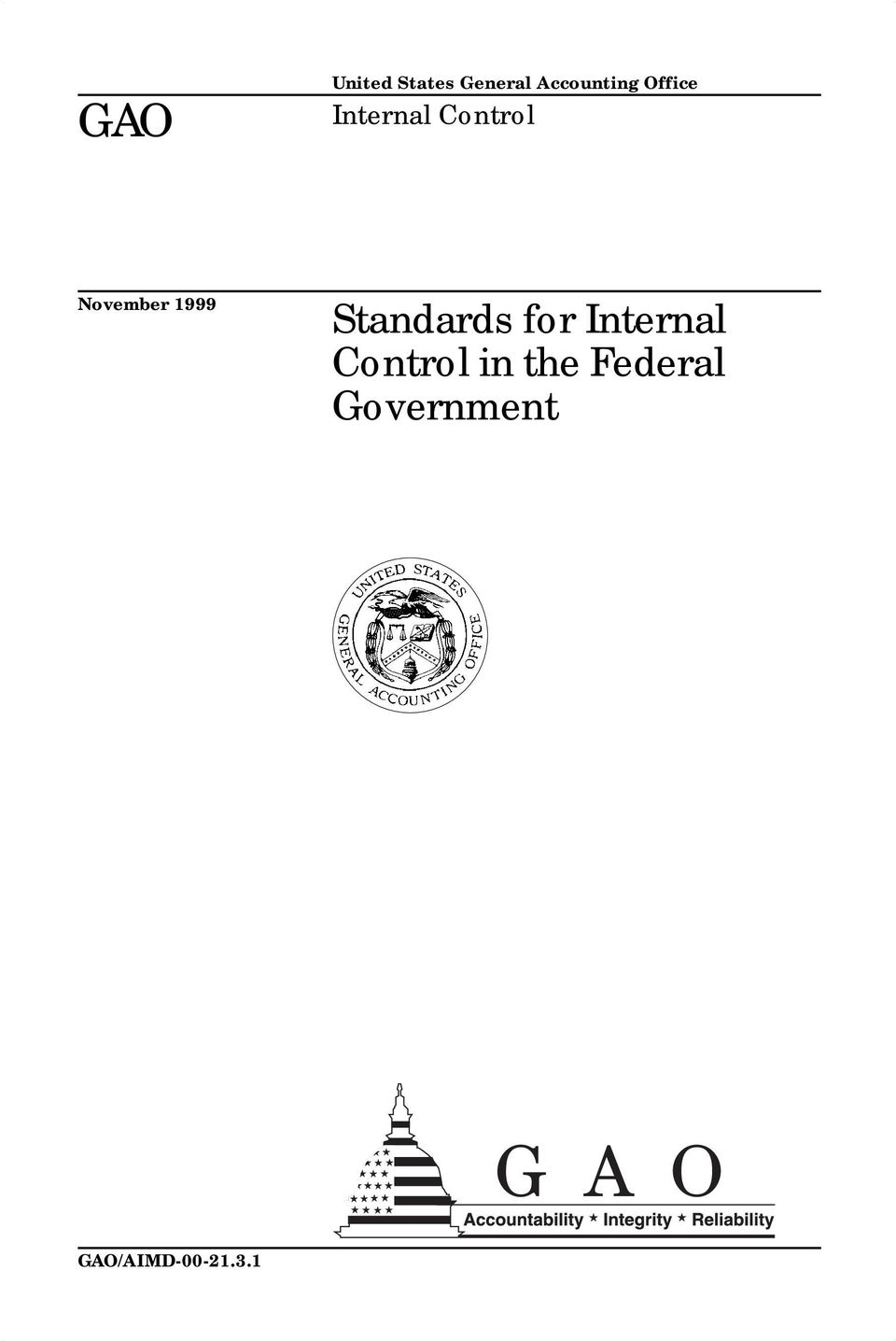 Standards for Internal Control in the