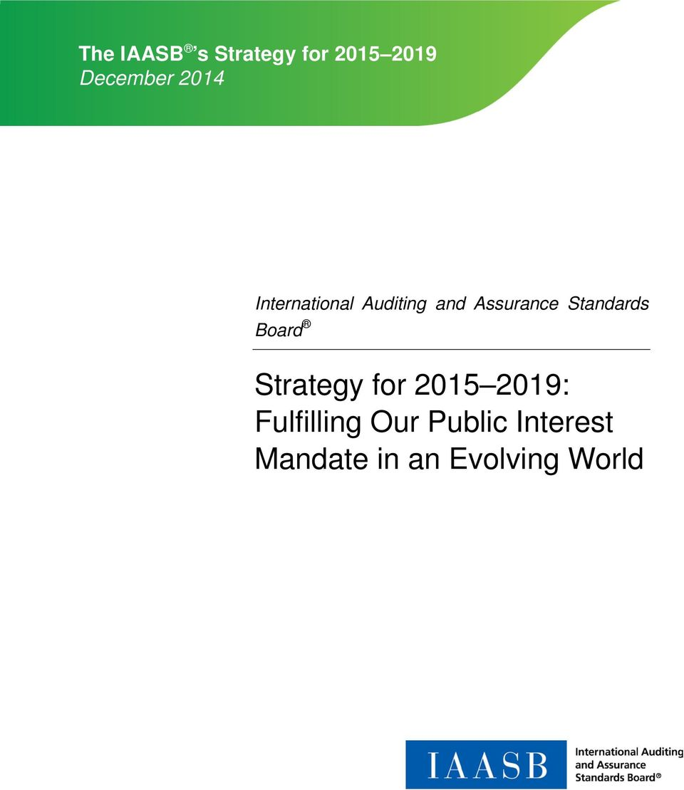 Standards Board Strategy for 2015 2019: