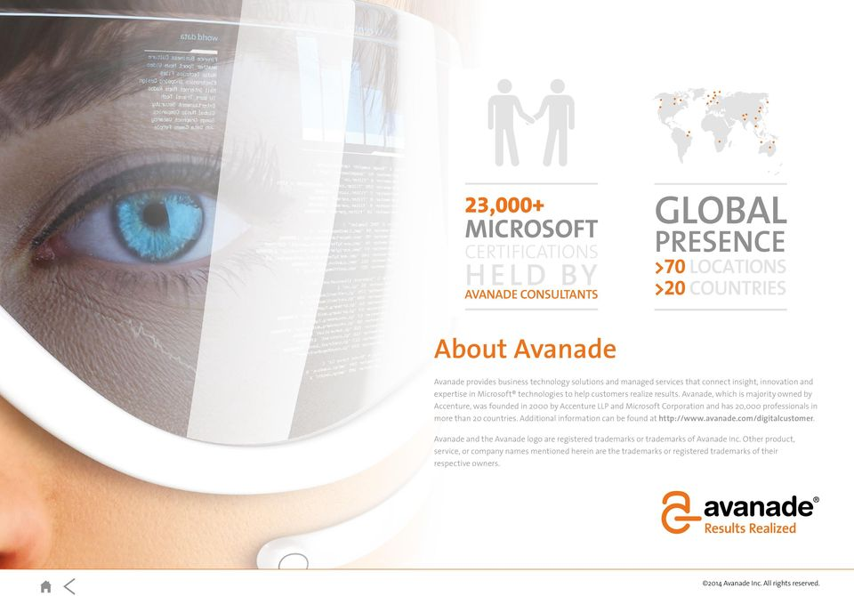 Avanade, which is majority owned by Accenture, was founded in 2000 by Accenture LLP and Microsoft Corporation and has 20,000 professionals in more than 20 countries.