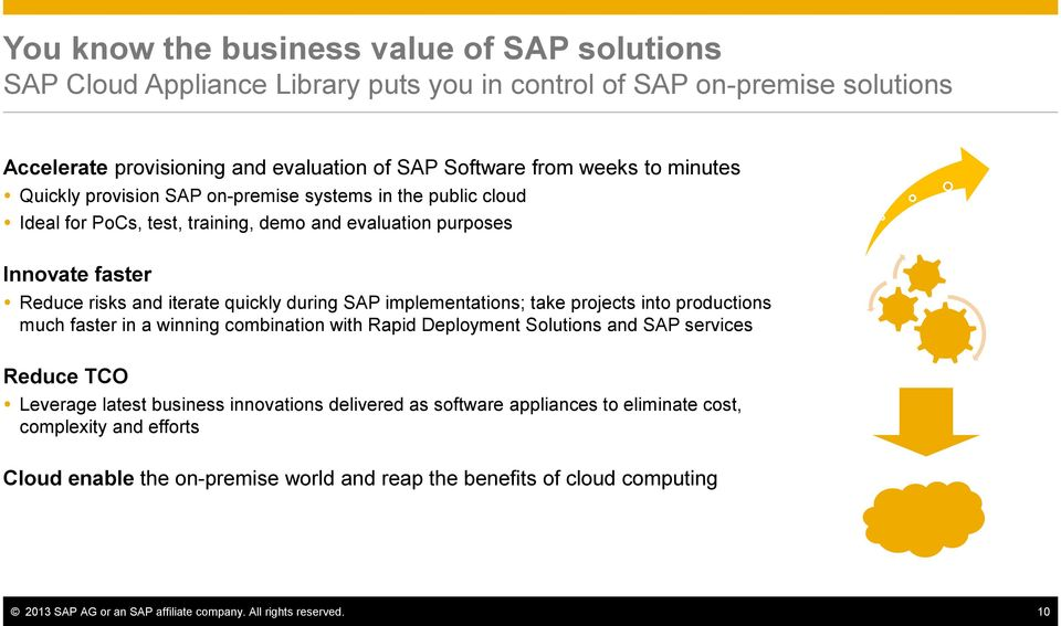 implementations; take projects into productions much faster in a winning combination with Rapid Deployment Solutions and SAP services Reduce TCO Leverage latest business innovations delivered