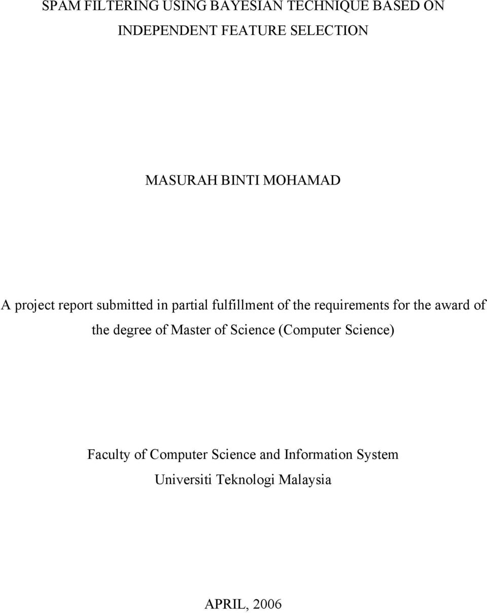 requirements for the award of the degree of Master of Science (Computer Science)