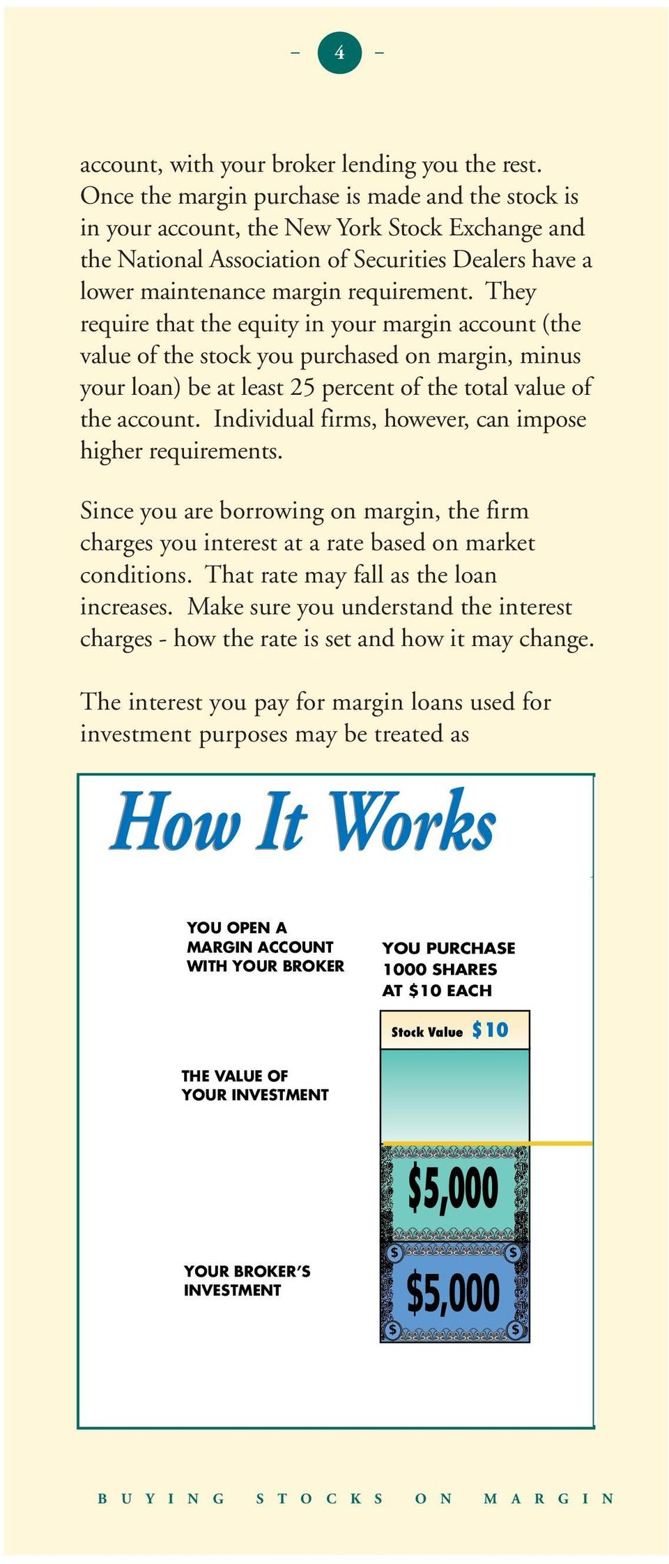 They require that the equity in your margin account (the value of the stock you purchased on margin, minus your loan) be at least 25 percent of the total value of the account.