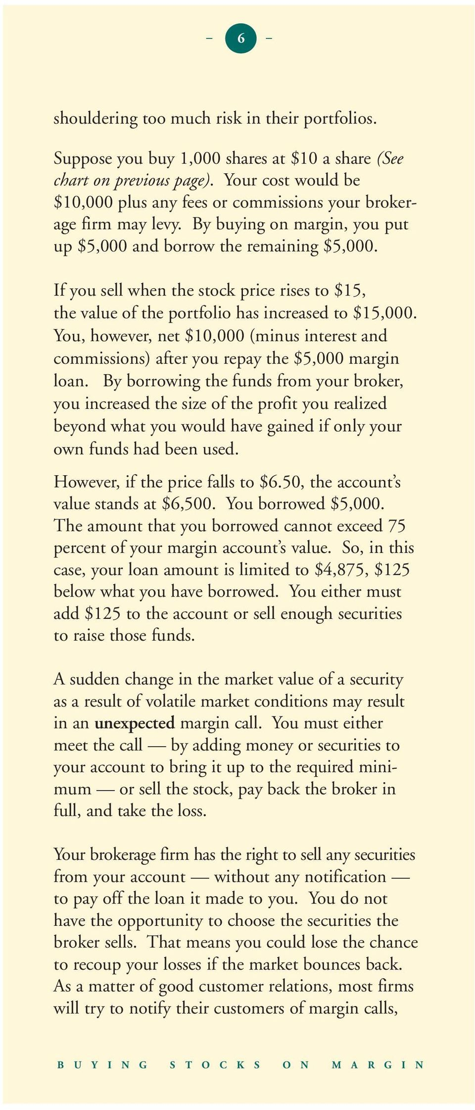 If you sell when the stock price rises to 15, the value of the portfolio has increased to 15,000. You, however, net 10,000 (minus interest and commissions) after you repay the 5,000 margin loan.