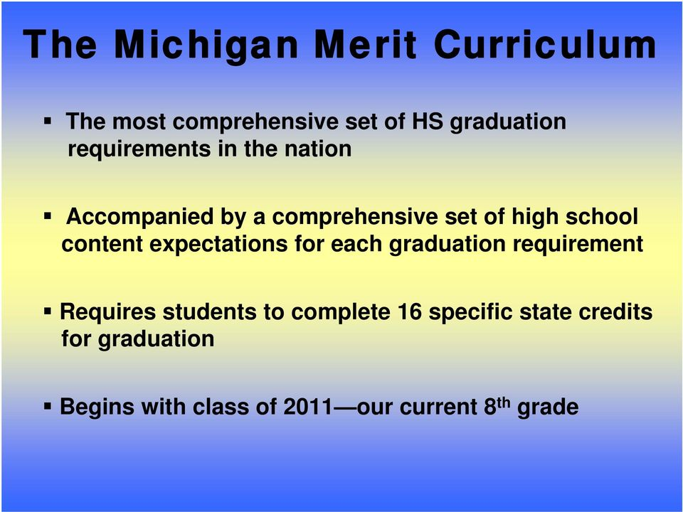 content expectations for each graduation requirement Requires students to