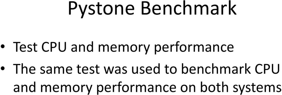 test was used to benchmark CPU