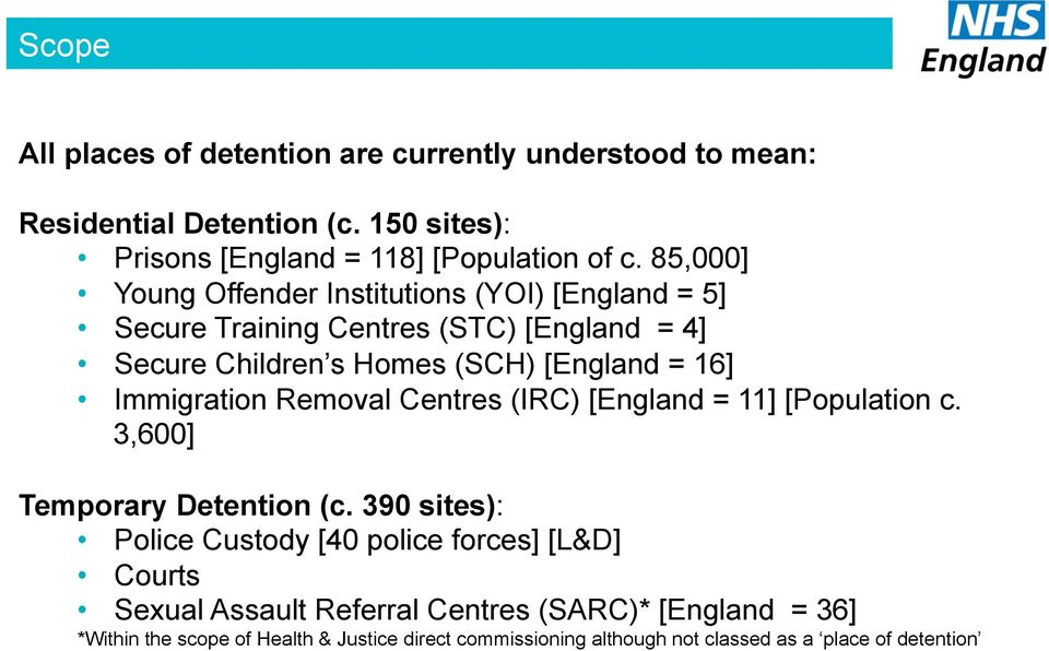 Immigration Removal Centres (IRC) [England = 11] [Population c. 3,600] Temporary Detention (c.