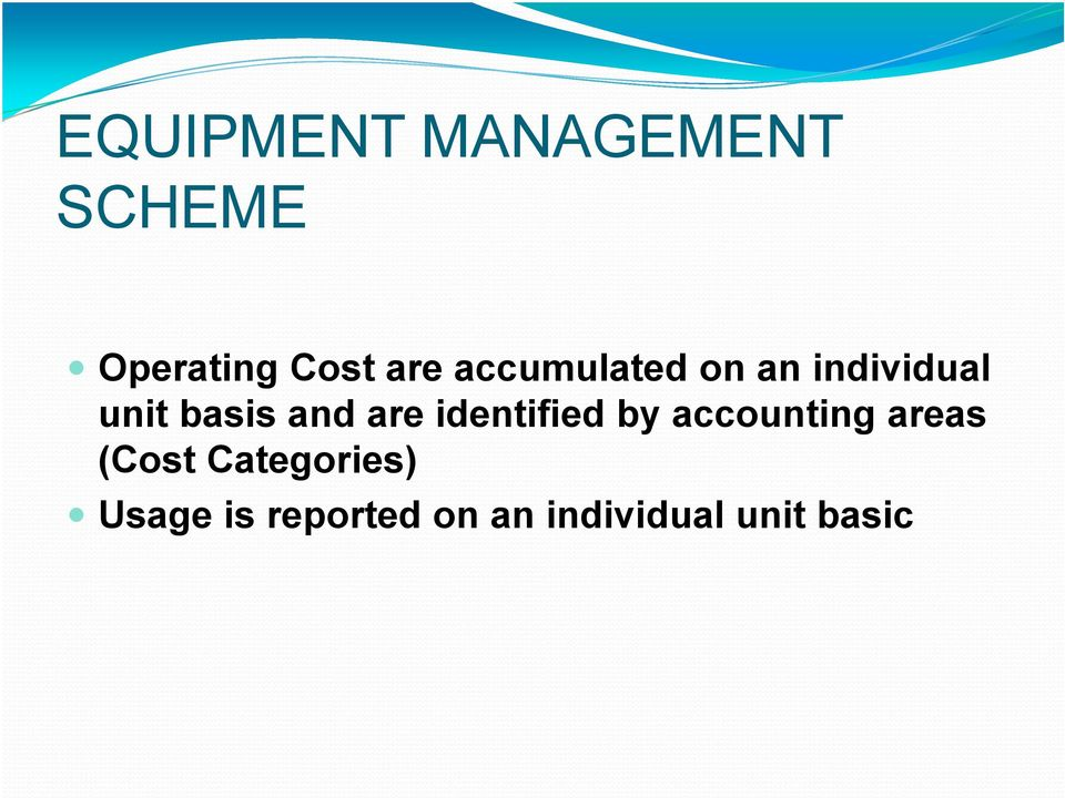 identified by accounting areas (Cost