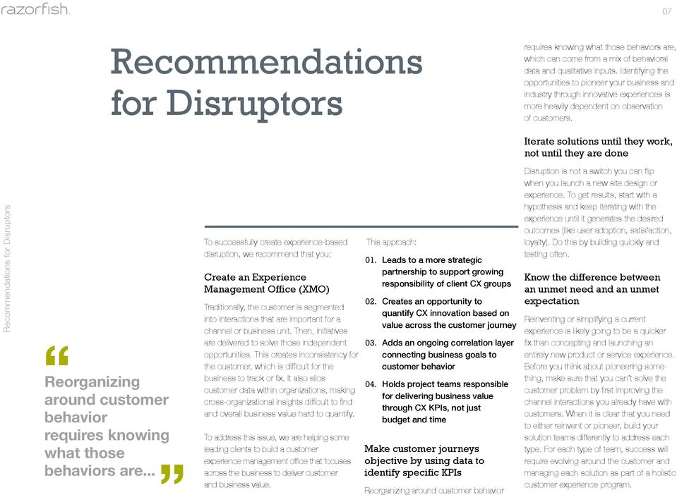 Iterate solutions until they work, not until they are done Recommendations for Disruptors Reorganizing around customer behavior requires knowing what those behaviors are.