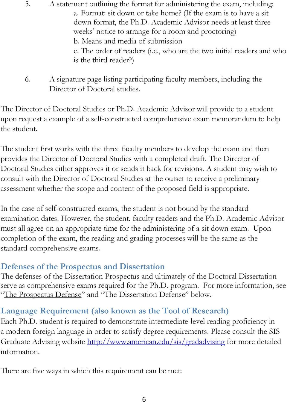 ) 6. A signature page listing participating faculty members, including the Di