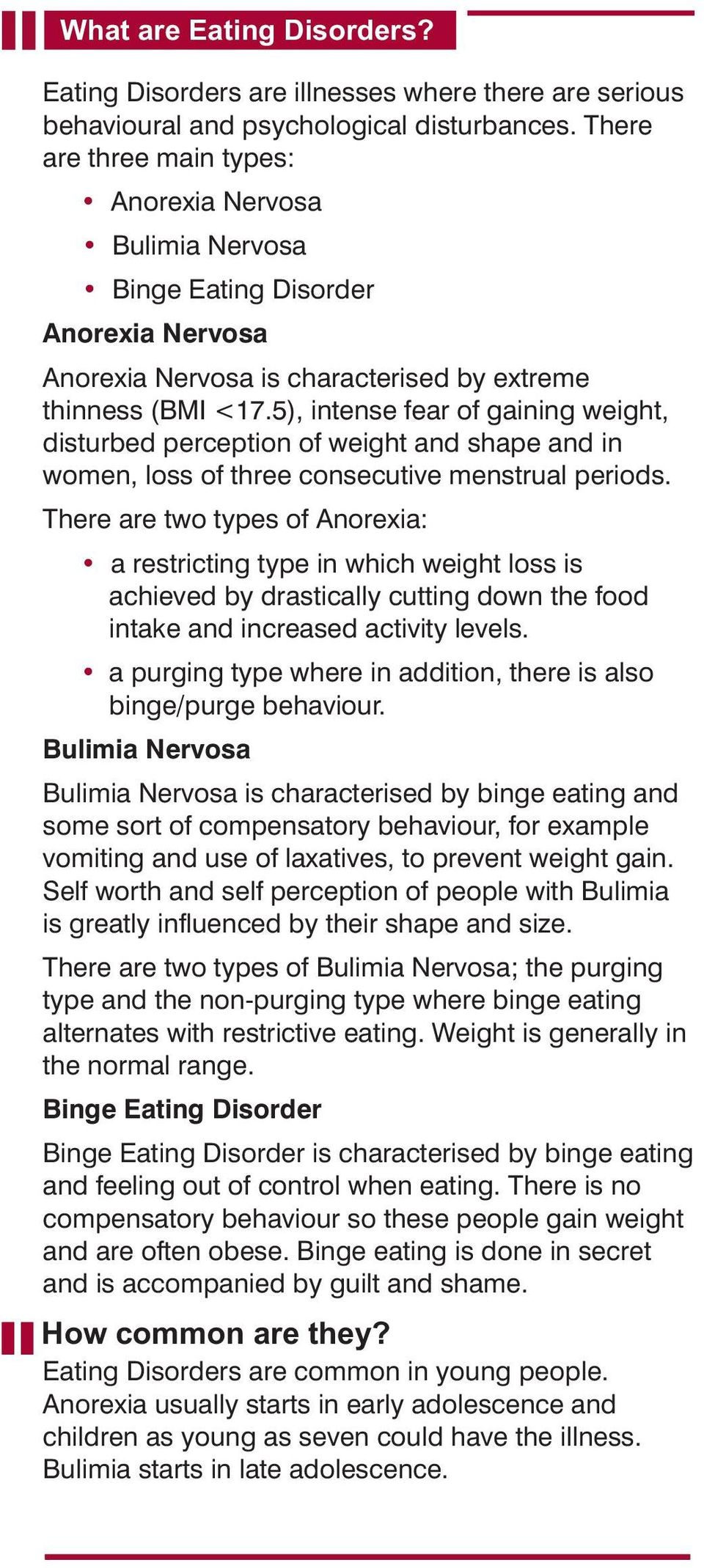 5), intense fear of gaining weight, disturbed perception of weight and shape and in women, loss of three consecutive menstrual periods.