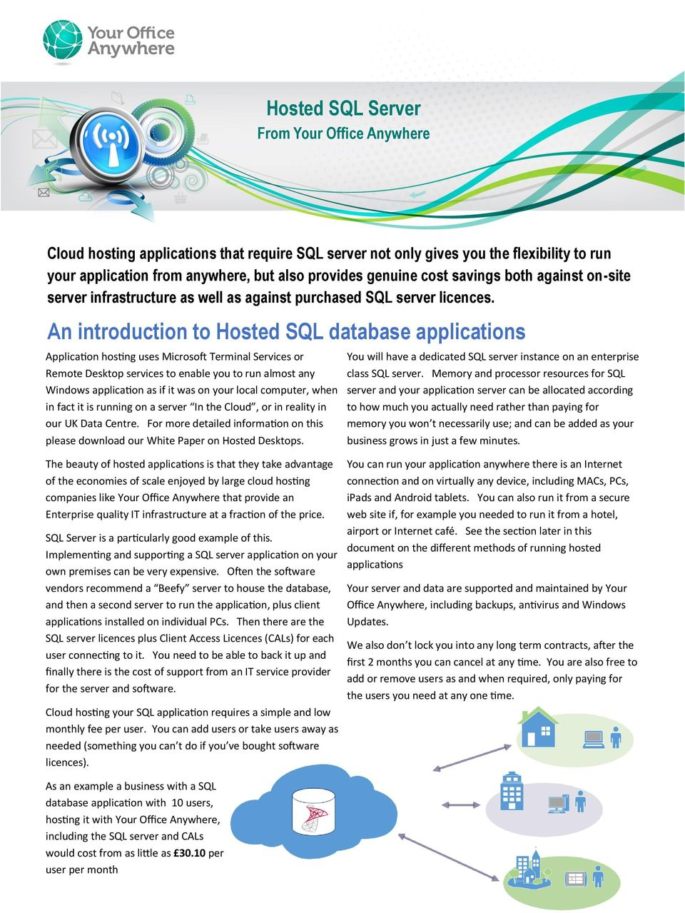 An introduction to Hosted SQL database applications Application hosting uses Microsoft Terminal Services or Remote Desktop services to enable you to run almost any Windows application as if it was on