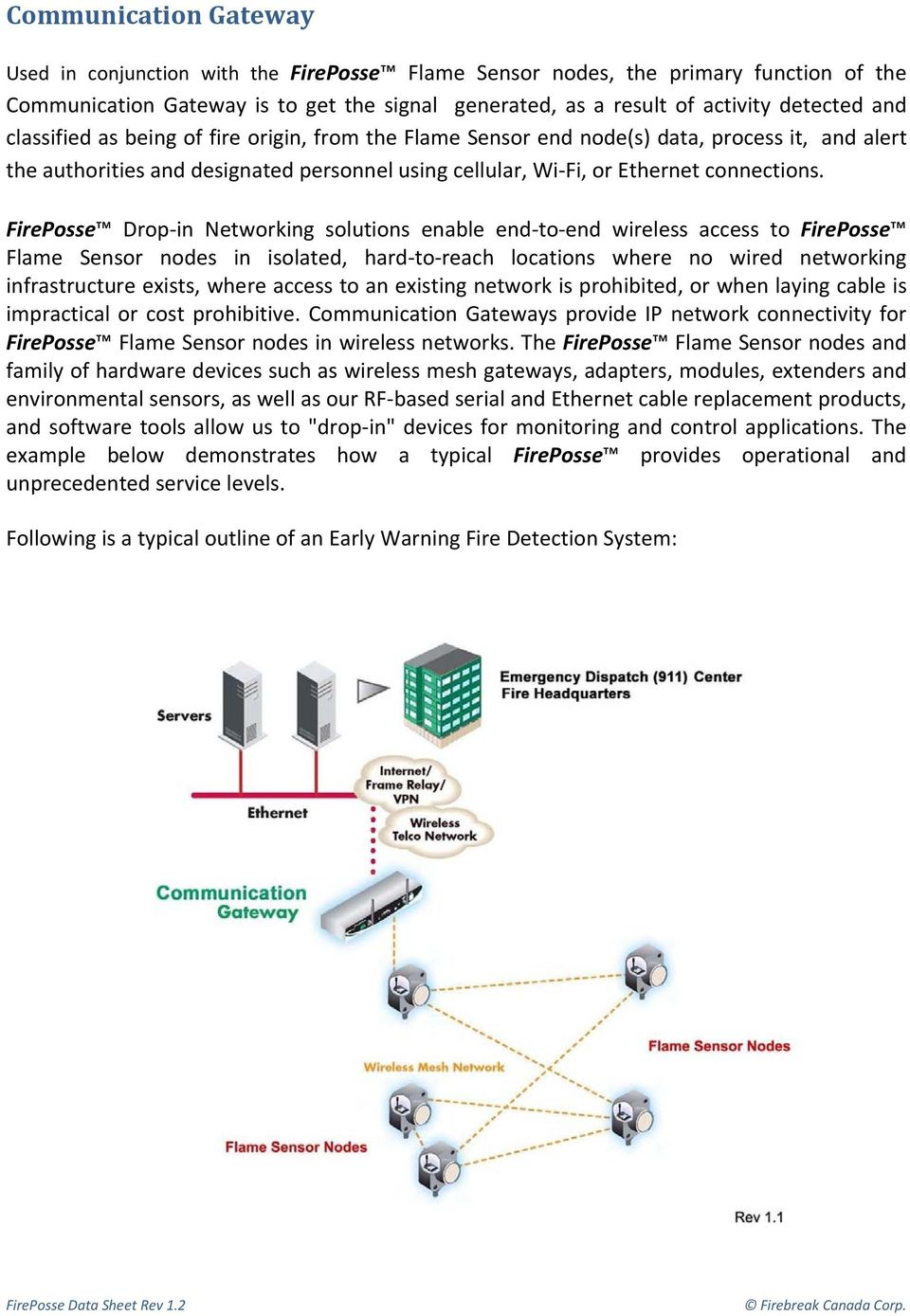 FirePosse Drop in Networking solutions enable end to end wireless access to FirePosse Flame Sensor nodes in isolated, hard to reach locations where no wired networking infrastructure exists, where
