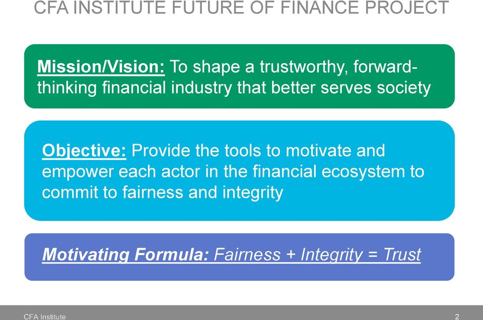 Provide the tools to motivate and empower each actor in the financial ecosystem
