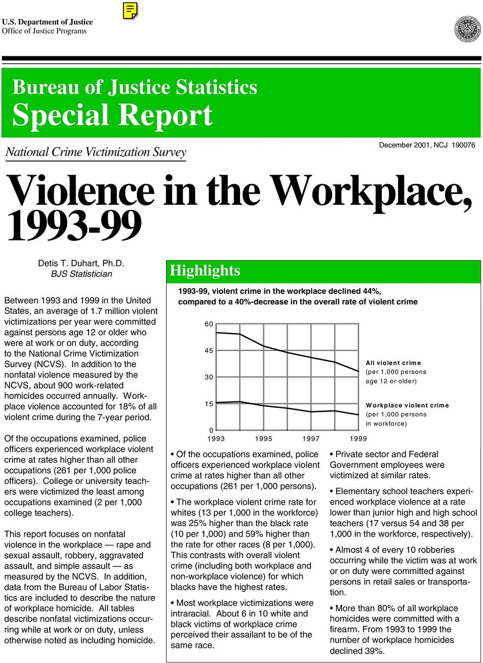 7 million violent victimizations per year were committed against persons age 12 or older who were at work or on duty, according to the National Crime Victimization Survey (NCVS).