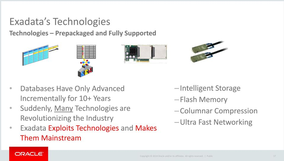 Exploits Technologies and Makes Them Mainstream Intelligent Storage Flash Memory Columnar