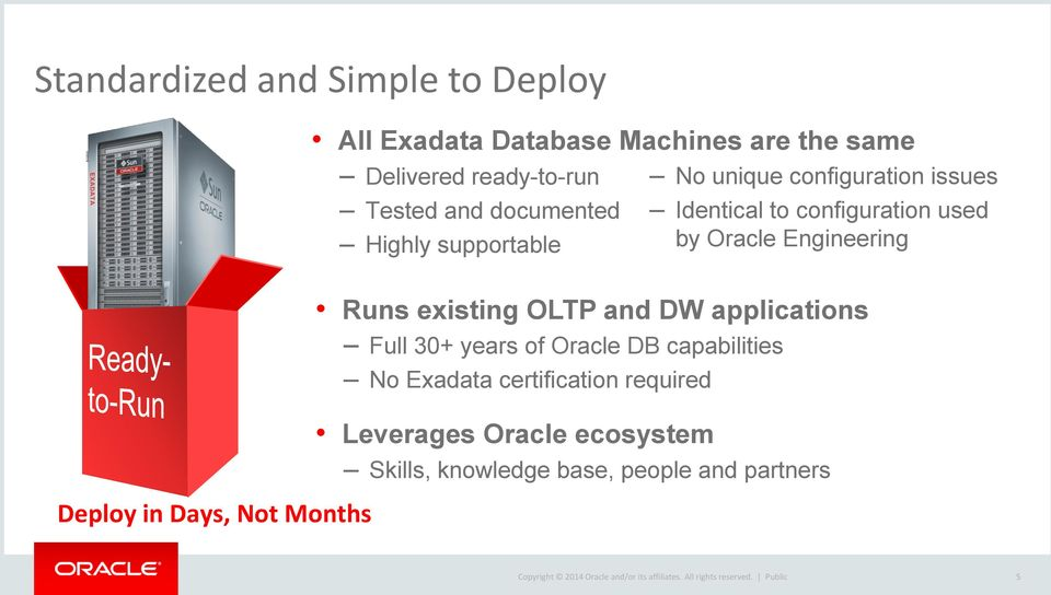 Runs existing OLTP and DW applications Full 30+ years of Oracle DB capabilities No Exadata certification required Leverages