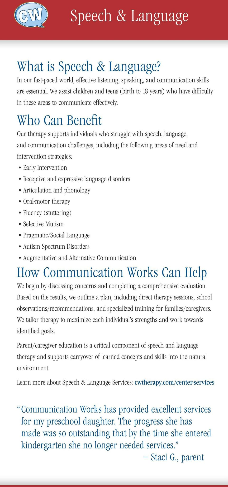Who Can Benefit Our therapy supports individuals who struggle with speech, language, and communication challenges, including the following areas of need and intervention strategies: Early