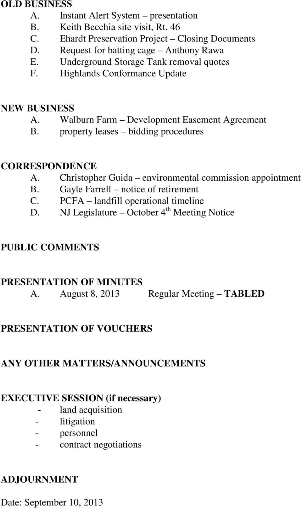 Christopher Guida environmental commission appointment B. Gayle Farrell notice of retirement C. PCFA landfill operational timeline D.