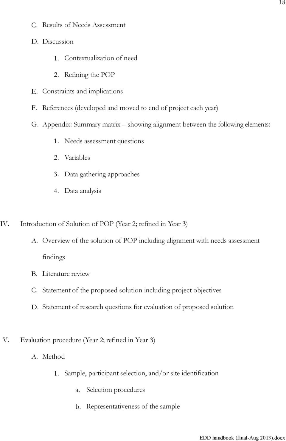 Introduction of Solution of POP (Year 2; refined in Year 3) A. Overview of the solution of POP including alignment with needs assessment findings B. Literature review C.